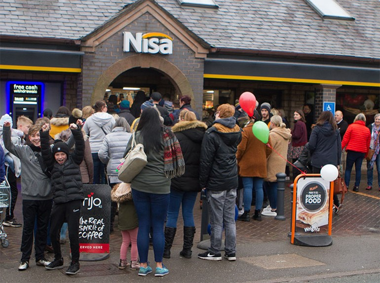 Nisa Brownedge store opening with front of store and fascia