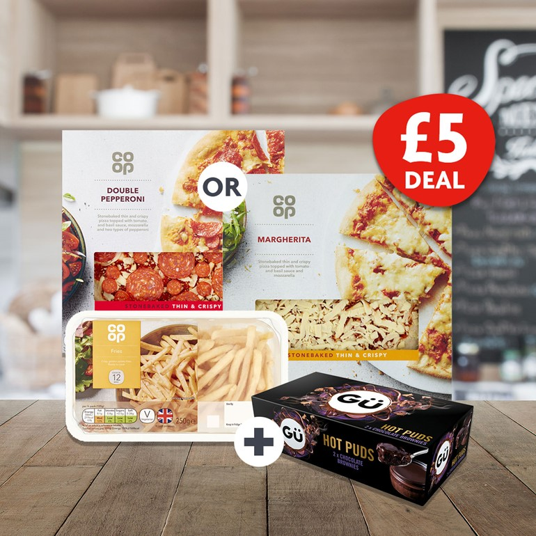 Dining in style with a full meal solution Co-op pizza, fries and Gu dessert for £5