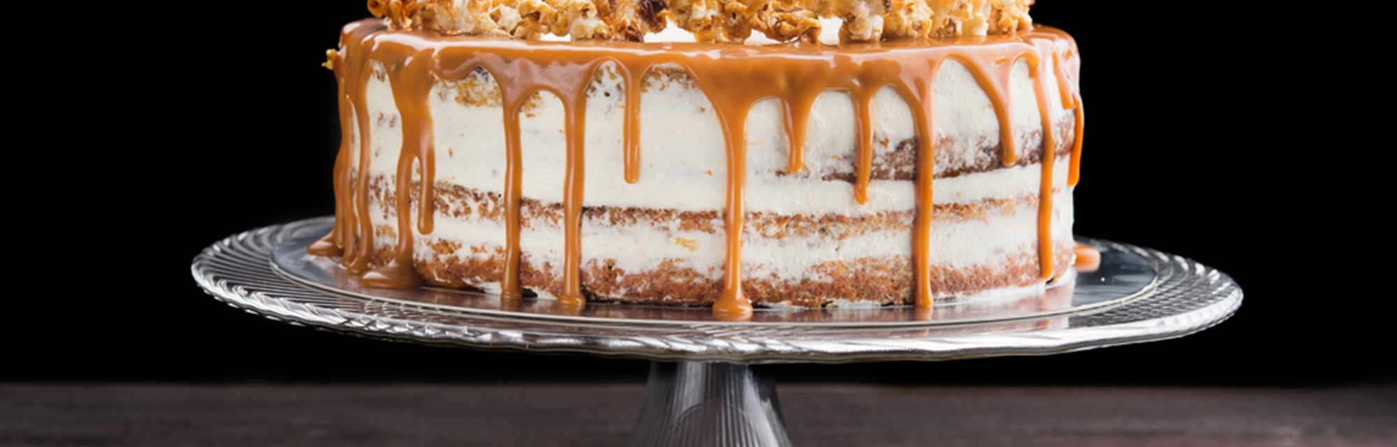Header - Two Layer Chocolate Popcorn Cake With Toffee Sauce