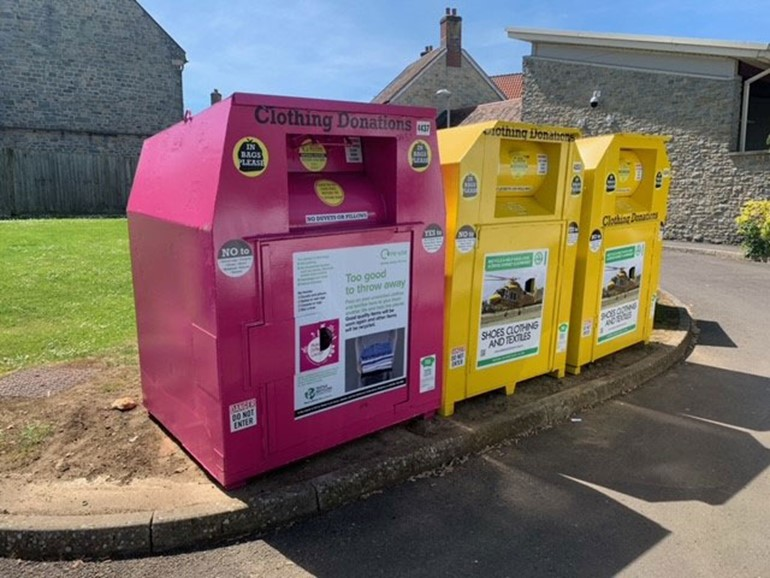 Making a Difference Locally launches charity clothing banks MADL pink and yellow banks