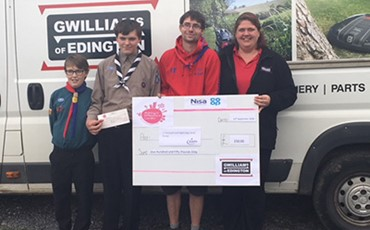 News - Gwilliams donation to 1st Highbridge and Huntspill Scout Group