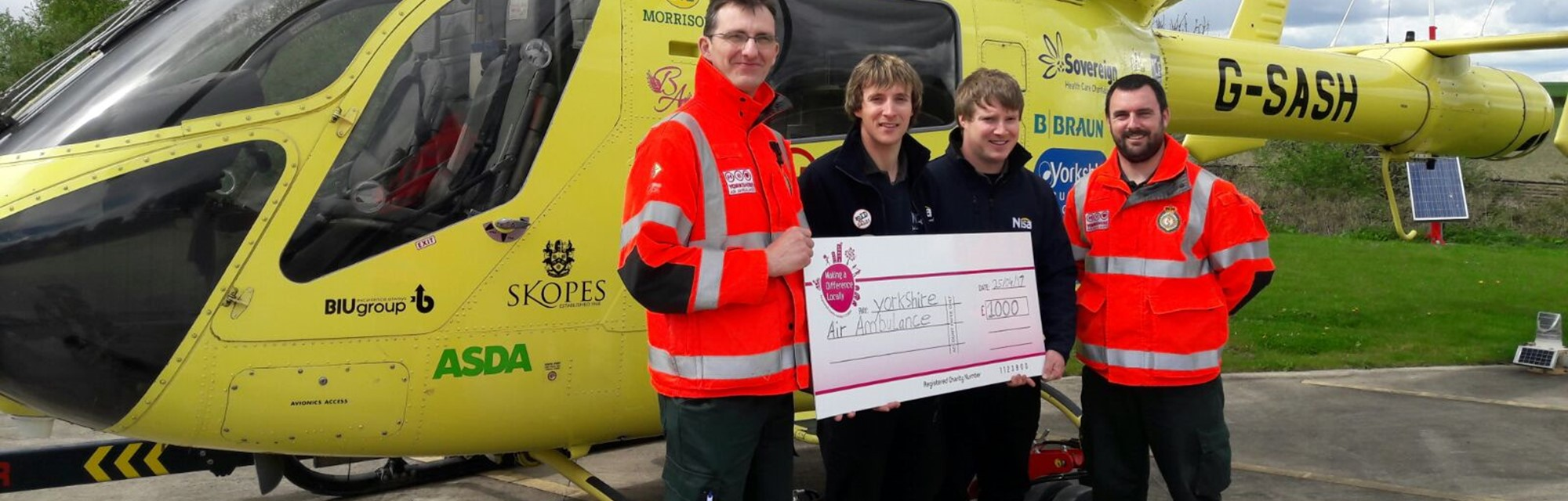 Header - Nisa Local Fitzwilliam Donation To Yorkshire Air Ambulance