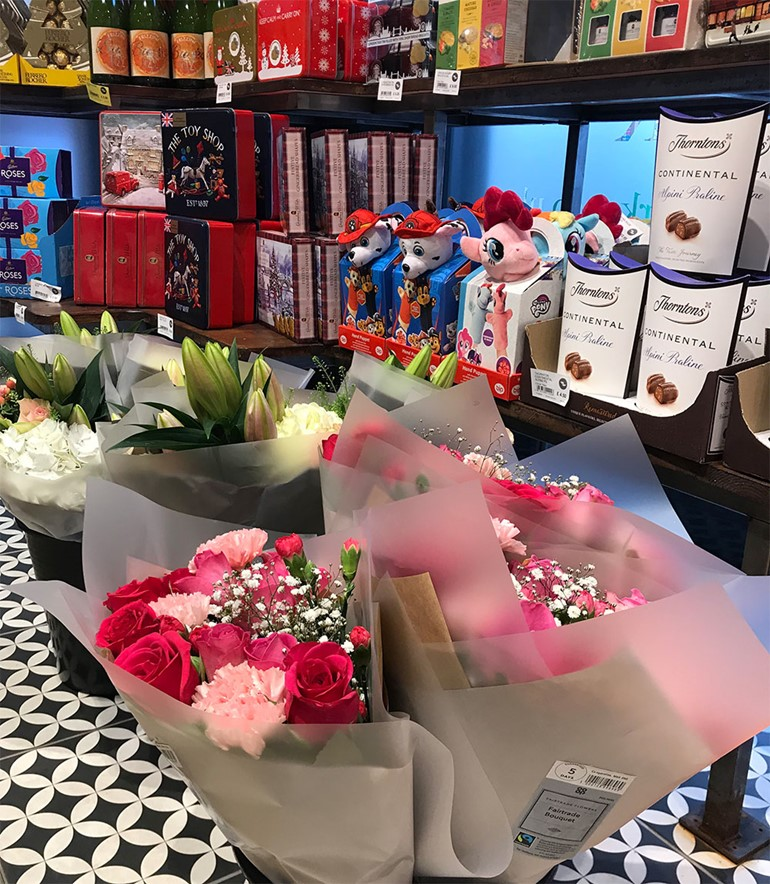 Saying it with flowers at Nisa flower gift display